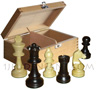 Box of beech-tree with felted and plumbed boxwood chessmans [nb5] (chessboard not included)