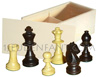 Box of Pine with game of 32 felted and plumbed boxwood chessmans [nb3] (chessboard not included)