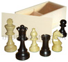 Box of Pine with felted and plumbed boxwood chessmans [nb5] (chessboard not included)