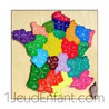 Wooden jigsaw : France card with 22 regions with list on base -used by schools-