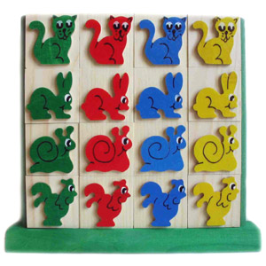 Jigsaw 4 in a row - wooden farm animals