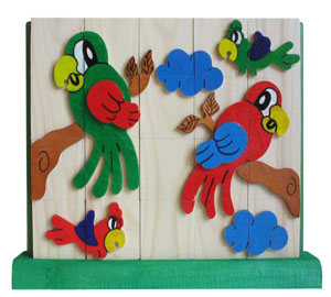 Wooden jigsaw 4 in a row - wooden parrot