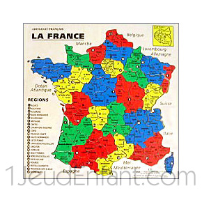 Wooden Jigsaw Geographical France Card 22 Regions Cutted In Departments