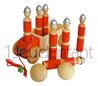 Truck with 6 FIREMAN wooden bowling lacquered skittles and 2 natual wood bowls