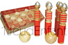 Set of 6 FIREMAN wooden bowling lacquered skittles and 2 natual wooden balls