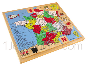Wooden jigsaw : geographical France map with Alphabet