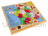 Wooden jigsaw with Alphabet: France card with 54 jigsaw units
